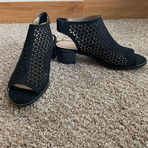 American Eagle Perforated Cut Out Black Booties